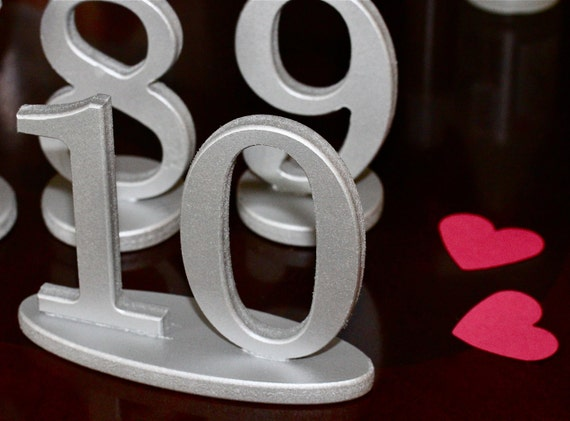 Silver Table Numbers - Wooden Table Numbers for Weddings