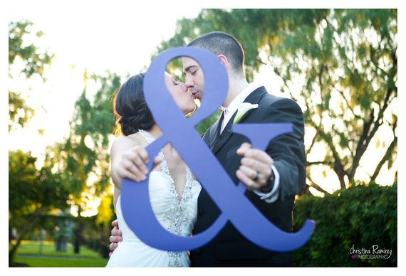 """Ampersand Photo Prop '&' Sign - 3/4"""" Thick, Wooden, Engagement Photo Prop"""