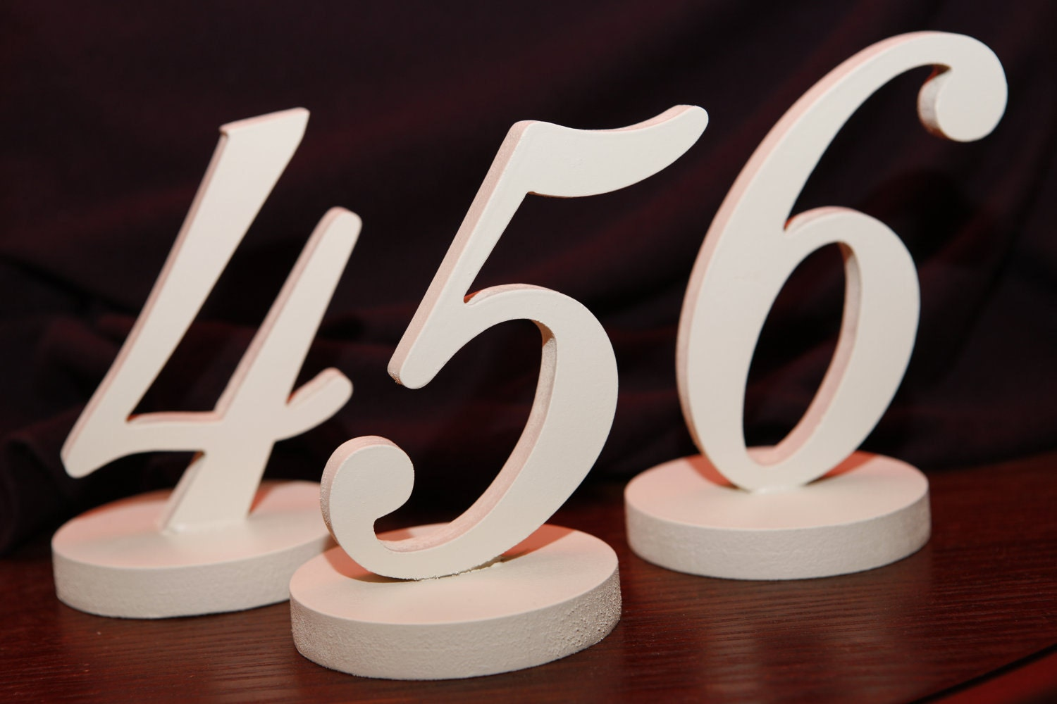 Wooden Table Numbers ~ Table numbers wooden ivory wedding carved