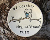 personalized teacher dish owl trinket dish
