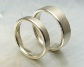 his and hers matching wedding bands in 14k white gold, 6mm and 4mm, comfort fit
