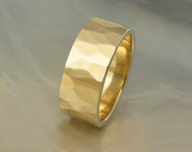 7mm wedding band, men's or women's -- hand hammered in sustainable 14k yellow gold -- waterfall style