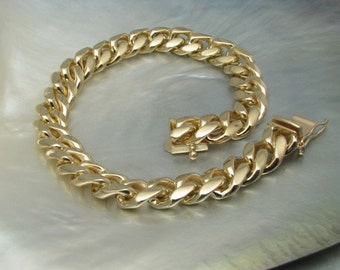 solid 14k yellow gold handmade curb-link chain bracelet -- made to order