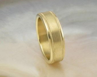 6mm mans wedding band in 18k gold, satin finish with milgrain, comfort fit