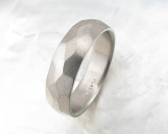 rustic mens wedding band -- 6mm platinum ring with random faceting