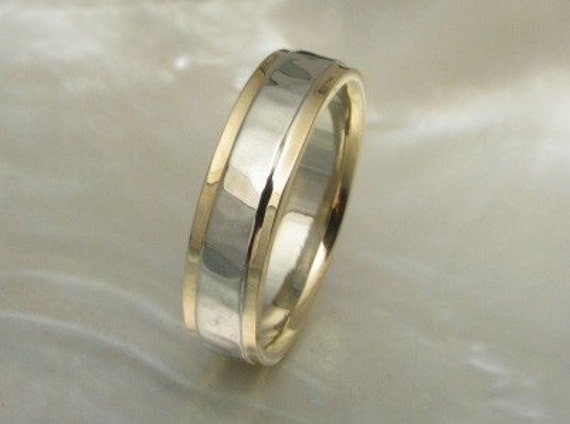 5mm hand forged hammered band in 14k white and yellow gold with stepped edges