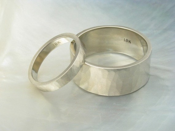 set of 18k white gold hand forged hammered wedding bands, satin finish