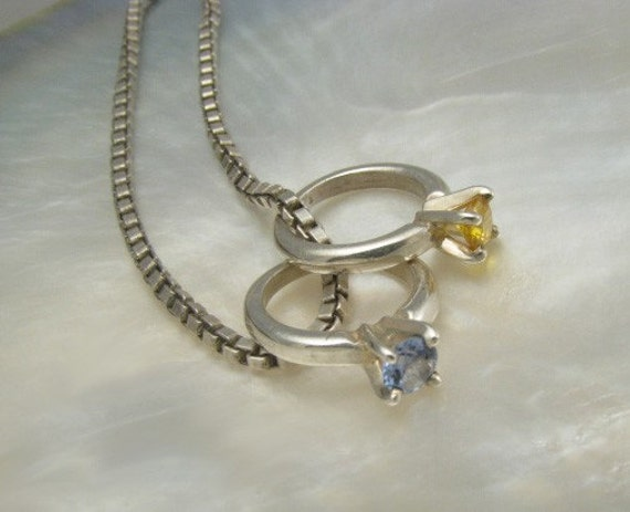 Sterling Silver Mothers Necklace With 2 Birthstone Ring