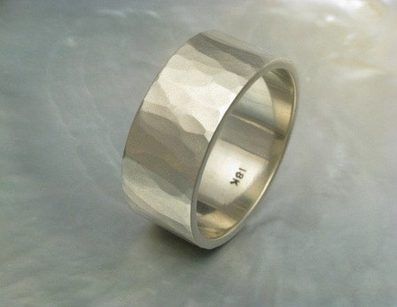 10mm wide wedding band hammered in 18k white gold by