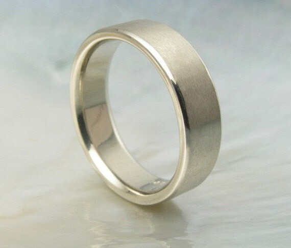 wedding band white gold, comfort fit, 6mm mens flat wedding ring