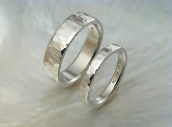 unique platinum wedding band set, hand hammered & hand forged -- waterfall style