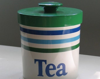 Groovy Shades of Blue & Green Tea Canister