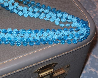 Gorgeous Blue 6 Strand Vintage Daisy Chain Necklace Glass Beads