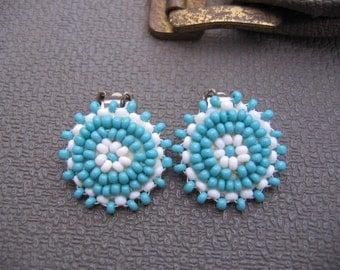 Handmade Southwest Turquoise and White Beaded Earrings