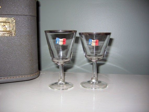 From France: Platinum Rimmed His & Hers Glasses, Parisienne Cristallerie D'Arques France