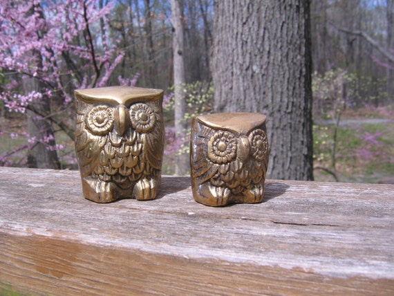 Vintage Pair of Brass Owls, Two