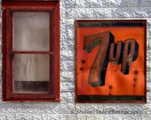 Vintage Metal 7up Sign and Red Trimmed Window