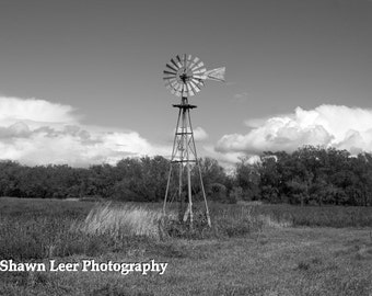 Black and White Windmill Photograph North Dakota