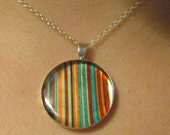 Striped Turquoise and Orange Resin Pendant