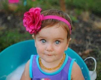 Hot Pink Baby Headband, Hot Pink Flower Headband, Flower Hair Clip, Hot Pink Headband, Toddler Headband, Baby Girl Headband, Photo Prop, 05