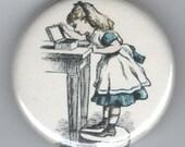 Little Girl peeking in Box  Alice 1.25 inch BUTTON/PIN/BADGE Vintage Image