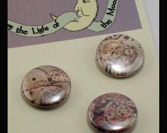 Clockwork 1inch Button trio SteamPunk Vintage Illustration