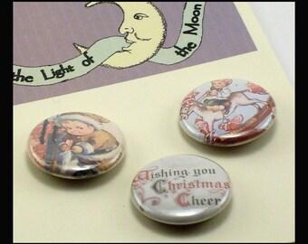 Christmas Cherubs 1 inch Button set trio, Vintage postcard illustration