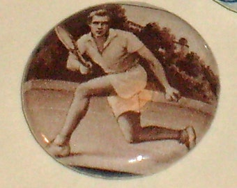 San Marino Tennis Player 1960 Olympics 1inch Pinback Button Vintage Postage Stamp OOAK