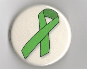 Green Awareness Ribbon   1.25 inch Button