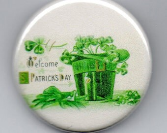 Welcome  St Patrick's Day  1.25 inch Button  Vintage Image