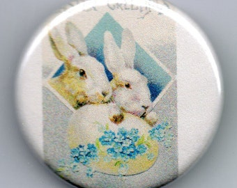 Two little Bunnies Easter 1.25 inch Button  Vintage Image