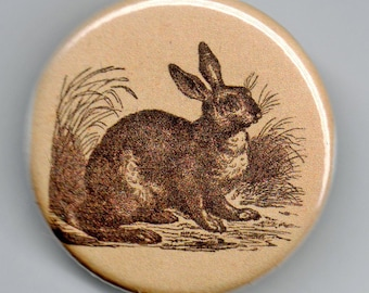 Rabbit and Hare Vintage Image 1.25 inch Pinback BUTTON