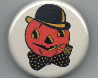 Halloween Delight Black Cat, Witch, Pumpkins 1.25 inch Pinback Button  quartet Vintage Image