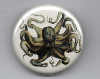 Octopus Colorful Denizen of the Deep  1.25 inch Pinback Button