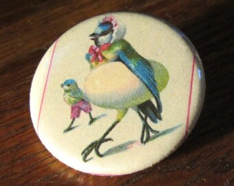 Bird Mom with Baby and Egg 1.25 inch Button duet Vintage Postcard Illustration