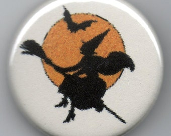 Halloween Duet  Witch and Bat Silhouettes 1.25 inch Pinback Button Vintage Illustration