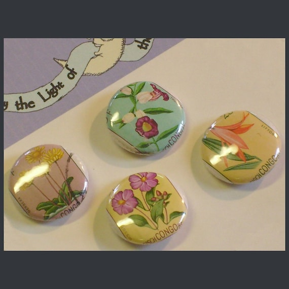 Belgian Congo Floral Set 1 inch Button set Vintage Postage Stamps