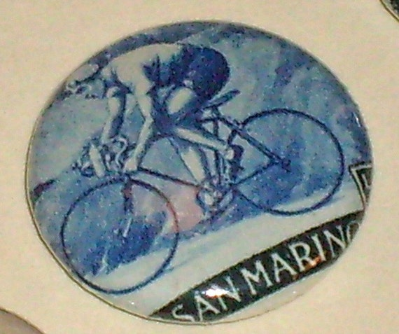 San Marino Bicycle Road Racer 1960 olympics 1inch Button Vintage Postage Stamp OOAK