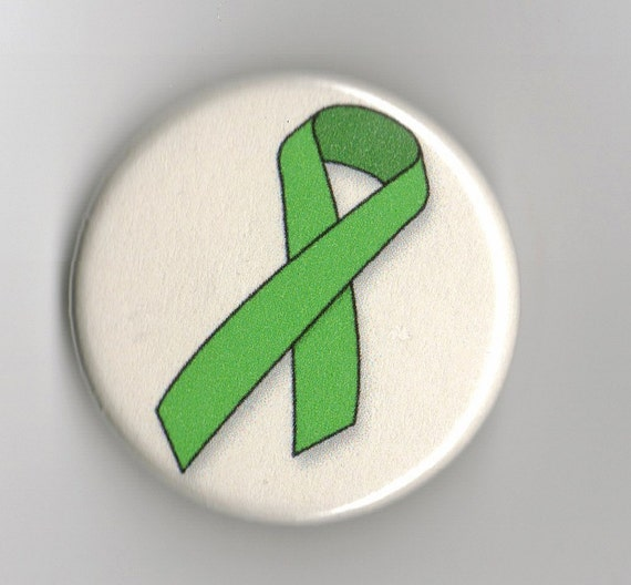 Green Awareness Ribbon   1.25 inch Button