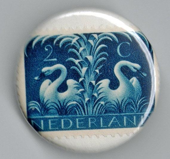 Netherlands Serpents Swans and Doves set 1.25 inch Button  Vintage Postage Stamp 1956