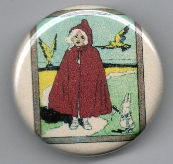 Little Red Riding Hood 1.25 inch Pinback Button Vintage Illustration