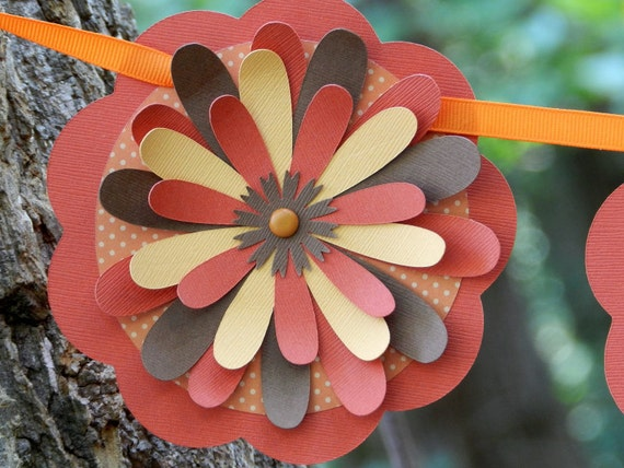 Autumn Daisy Paper Banner Baby Theme READY TO SHIP