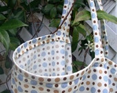 Nursing Cover - blue and brown polkadot