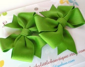 Back to School Bows:  Set of two apple green alligator clips