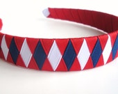 Boutique Ribbon Woven Hairband: hand woven from red white and blue should fit preschooler to adult great for school