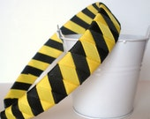 Woven Headband Tiger Stripe black and yellow one inch wide
