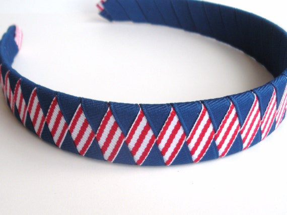Patriotic Woven Headband: one inch wide hand woven from  red white stripe blue