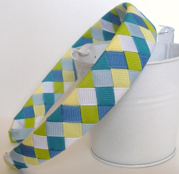 Sea Splash Headband:  one inch wide made from mtmg ribbon six strands