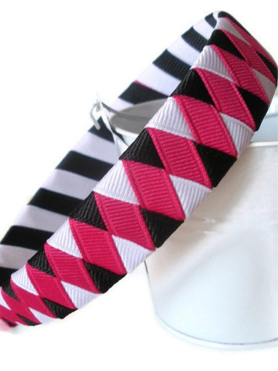 Girl Woven Headband: mtmg leopard chic black white pink one inch wide