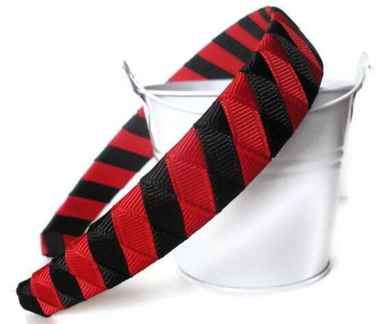 Boutique Woven Headband red black stripe